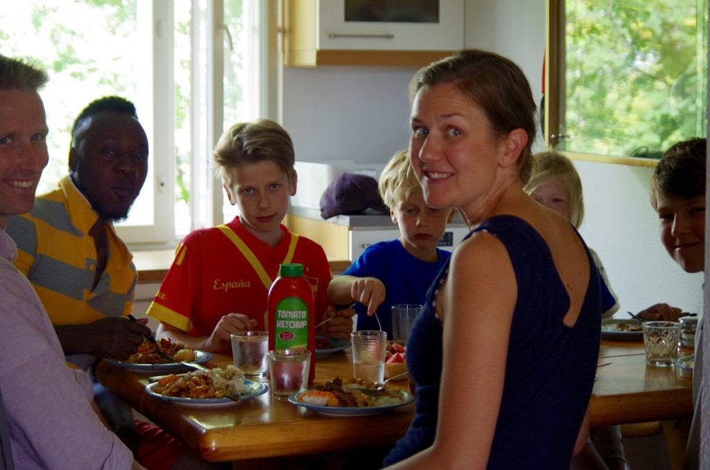 The family having lunch at the guesthouse